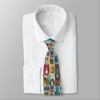 Corbatas Personalizadas Diseño animal lindo del arte popular del collage