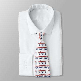 Corbatas Personalizadas Donald Trump en hebreo del rojo, blanco y azul