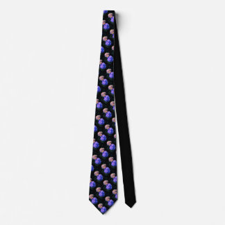 Corbatas Personalizadas El lazo negro tejó las flores azules/poner crema