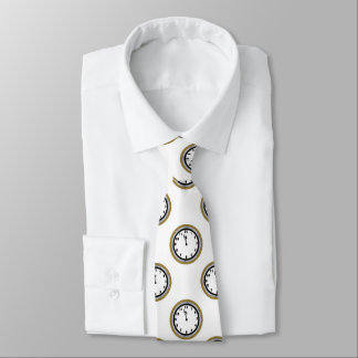 Corbatas Personalizadas Elegantes de Noche Vieja del reloj el lazo del