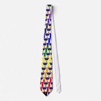 Corbatas Personalizadas Embudo ondulado del triángulo del arco iris de las