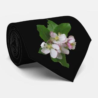 Corbatas Personalizadas Flores rosados de Apple en lazo negro