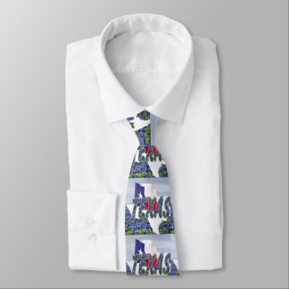 Corbatas Personalizadas Forma de Tejas con la bandera y los Bluebonnets de