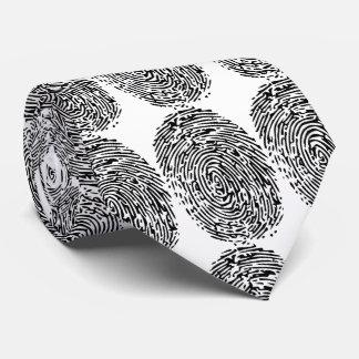 Corbatas Personalizadas Huellas dactilares negras y blancas divertidas