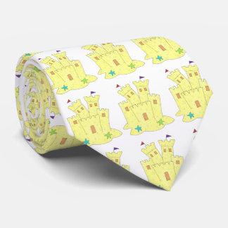 Corbatas Personalizadas Lazo amarillo del castillo de la arena del