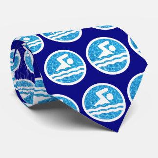 Corbatas Personalizadas Lazo del icono del nadador o de la natación y de