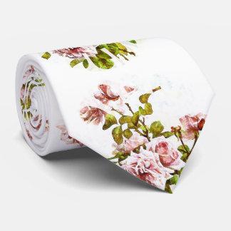 Corbatas Personalizadas Lazo floral color de rosa del vintage, elegante