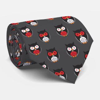 Corbatas Personalizadas Los búhos lindos con rojo, blanco observan