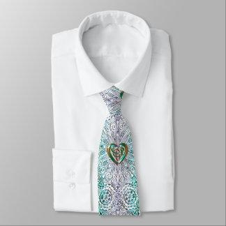 Corbatas Personalizadas Mandala céltica del corazón en oro verde