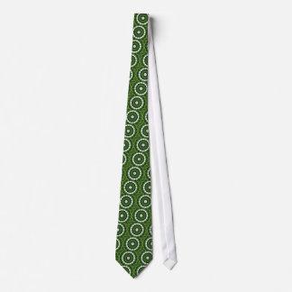 Corbatas Personalizadas Mandala verde y blanca tropical de la flora