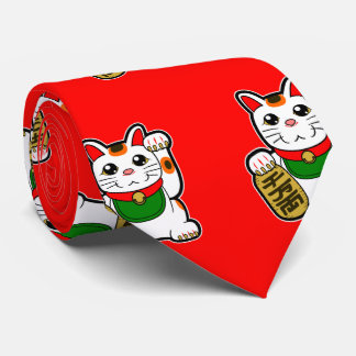 Corbatas Personalizadas Maneki Neko: Gato afortunado japonés