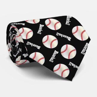 Corbatas Personalizadas Modelo negro del béisbol de la diversión