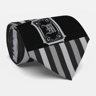 Corbatas Personalizadas Monograma de la hebilla de las rayas del negro y