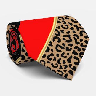 Corbatas Personalizadas Negro, oro y leopardo diagonal rojo de la raya