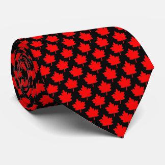 Corbatas Personalizadas Negro rojo de la hoja de arce de Canadá