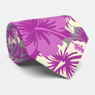 Corbatas Personalizadas Orquídea radiante hawaiana del hibisco floral