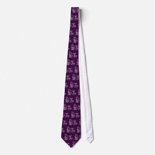 Corbatas Personalizadas Purple Mandala Cats