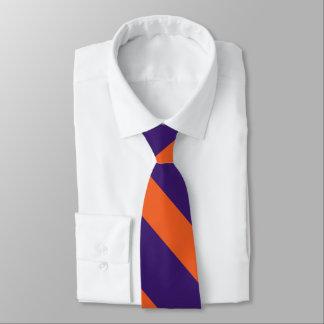 Corbatas Personalizadas Raya púrpura y anaranjada de la universidad
