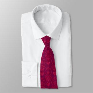 Corbatas Personalizadas Rojo carmesí, diseño magenta oscuro del damasco