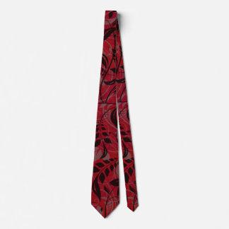 Corbatas Personalizadas Rojo con las hojas negras y del gris