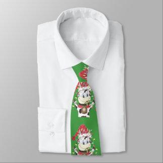 Corbatas Personalizadas Snowbell la vaca y Navidad enciende el lazo verde