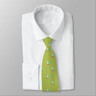 Corbatas Personalizadas Tablas hawaianas minúsculas en verde del modelo de