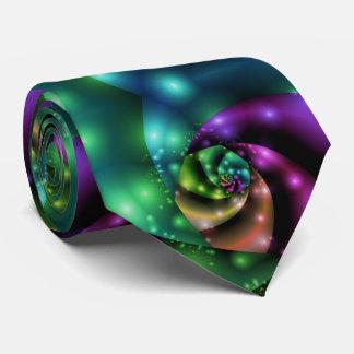 Corbatas Personalizadas Teja color de rosa cósmica del fractal