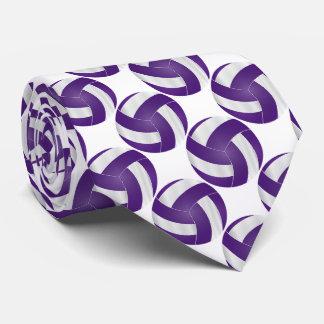 Corbatas Personalizadas Voleibol blanco y púrpura del deporte