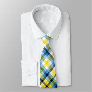 Corbatas Tela escocesa amarilla y azul