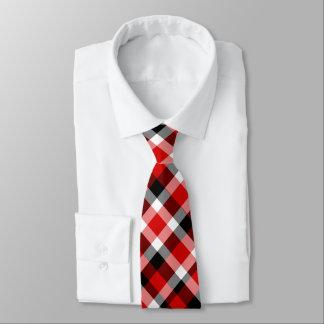 Corbatas Tela escocesa blanco y negro roja