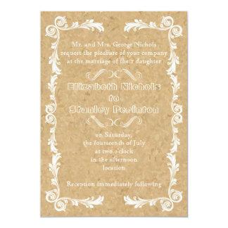 Corcho con el boda del marco del vintage invitación 12,7 x 17,8 cm
