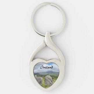 Corcho de piedra del interruptor del círculo de llavero plateado en forma de corazón