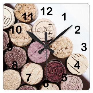 Corchos de la botella de vino reloj cuadrado
