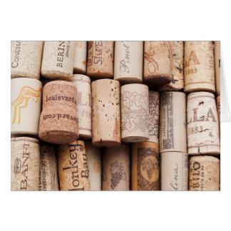 Corchos de la botella de vino tarjetón