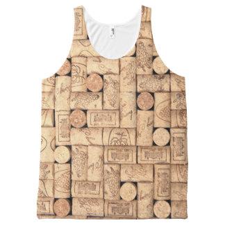Corchos del vino camiseta de tirantes con estampado integral