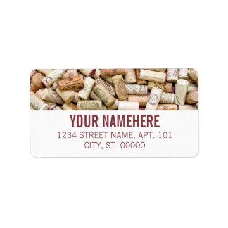 Corchos del vino etiquetas de dirección