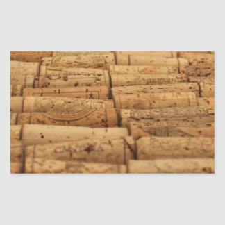 Corchos del vino pegatina rectangular