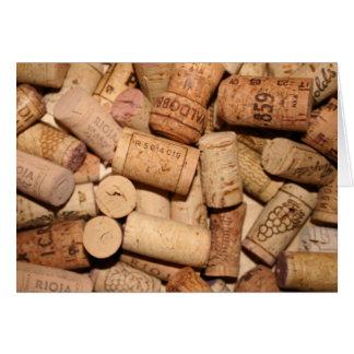 Corchos del vino tarjeton