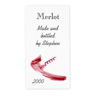 Corckscrew de la botella de vino rojo etiquetas de envío