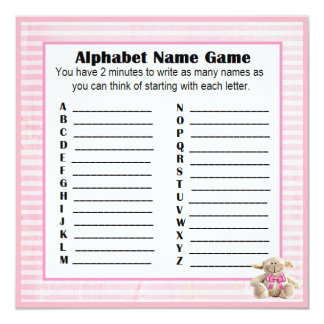 Cordero del rosa del juego del nombre y del bingo invitación 13,3 cm x 13,3cm