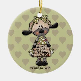 Cordero-Dios primitivo bendice la oveja Ornamento De Navidad