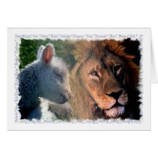 Cordero y león tarjeta de felicitación