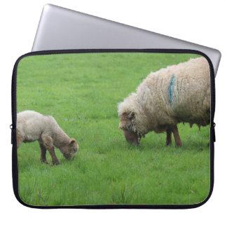Cordero y ovejas de la primavera funda para ordenador