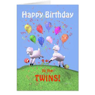 Corderos del feliz cumpleaños para los gemelos tarjeta