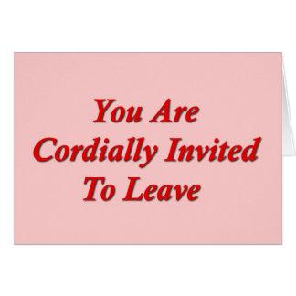 Cordialmente a le invitan que se vaya tarjeta pequeña