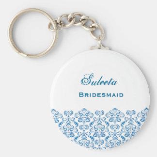 Cordón azul B039 del damasco del favor del boda de Llavero Redondo Tipo Chapa