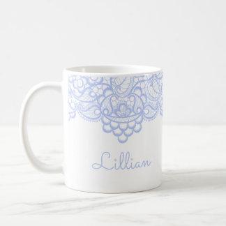 Cordón azul claro delicado taza de café