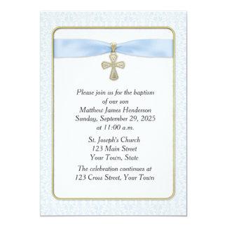 Cordón azul, cruz del oro, religiosa invitación 12,7 x 17,8 cm