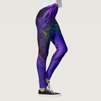 Cordón azul del fractal leggings