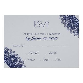 Cordón azul y gris que casa RSVP Invitación 8,9 X 12,7 Cm